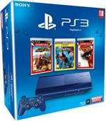 Console PS3 Bleue Ultra Slim 500 Go Sony + MotorStorm Pacific Rift Essentials + Uncharted 2 Platinum + God of War 3 Essentials ? Console Playstation 3